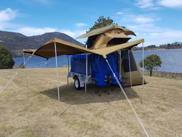 7 x 5 Camper Box Trailer With Roof Top Tent & Awning